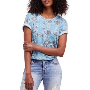 FREE PEOPLE Cotton Snakeskin Top